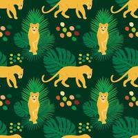Modèle sans couture plat dessiné de main de vecteur avec les lions et les plantes
