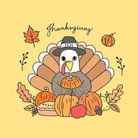 Dinde de Thanksgiving et vecteur de récolte.