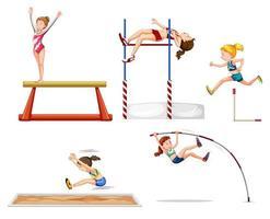 Ensemble de gymnastes vecteur