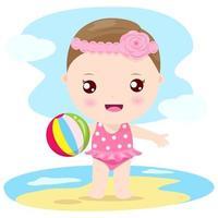 Petite fille sur la plage vecteur