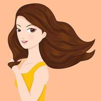 Belle femme aux cheveux qui coule