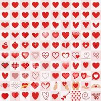 Collection de 99 cœurs différents. vecteur