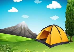 Tente jaune au camping vecteur