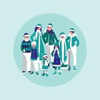 groupe de famille prêt pour l'hiver vecteur