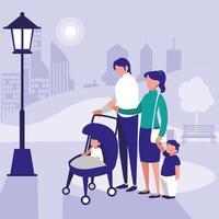 famille dans parc avec enfants vecteur