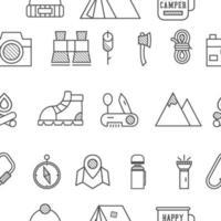 Camp, modèle sans couture de voyage avec le style d'icône fine ligne