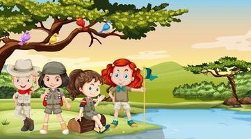 Enfants campant au bord de la rivière vecteur