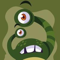 Icône de monstre vert vecteur