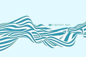 Arrière-plan 3D abstrait ligne de rayure minimale bleu et blanc vecteur