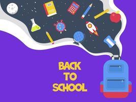 Rocket Themed Affiche de rentrée scolaire vecteur