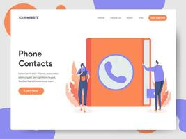 Modèle de page de destination des contacts téléphoniques vecteur