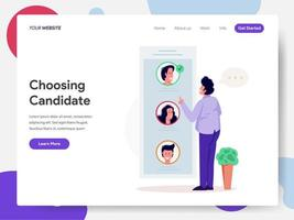 Modèle de page de destination du citoyen qui choisit un candidat pour voter vecteur