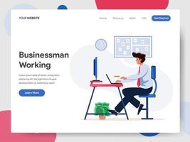 Homme d'affaires travaillant sur le Concept d'illustration de bureau