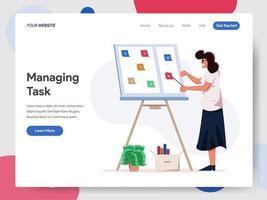 Femme d'affaires, gestion des tâches à bord Illustration Concept vecteur