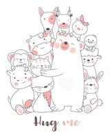 Hug Me Baby Animals, carte d'impression dessinée à la main vecteur