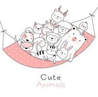 Animaux mignons bébés hamac style dessiné à la main vecteur
