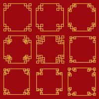 Collection de bordures et cadres décoratifs de style chinois vecteur