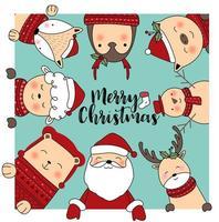 Carte de voeux joyeux Noël d'animaux mignons