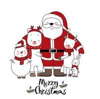 Animaux de fête mignons avec carte de voeux dessinée à la main du père Noël