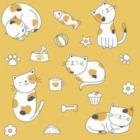 Modèle sans couture mignon chat multicolore vecteur