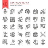 Ensemble d'icônes de cryptomonnaie fine et noire et blanche vecteur