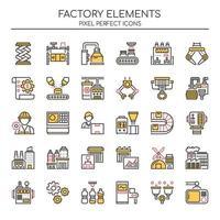 Ensemble d'icônes d'usine de fine ligne Duotone vecteur