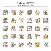 Ensemble d'icônes d'analyse de données de couleurs Duotone vecteur