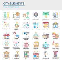 Ensemble d'éléments de la ville de couleur et d'icônes vecteur