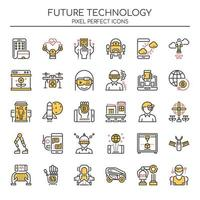Ensemble d'icônes de technologie future couleur Duotone vecteur
