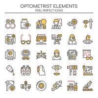 Ensemble d'icônes d'optométriste couleur deux tons vecteur