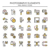Ensemble d'icônes de photographie Duotone vecteur
