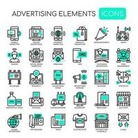 Ensemble d'éléments publicitaires monochromes verts