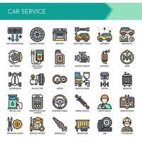 Ensemble d'icônes de service de voiture de ligne mince couleur
