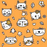 Modèle sans couture mignon chat orange simple vecteur