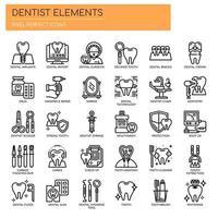 Ensemble d'icônes dentaires Thin Line noir et blanc vecteur