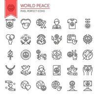 Ensemble d'icônes de la paix mondiale de la ligne mince noir et blanc