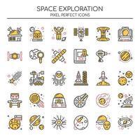 Ensemble d'icônes d'exploration d'espace couleur Duotone vecteur