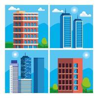 ensemble de scène de paysage urbain de construction de bâtiments