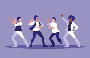 Groupe d'hommes dansant vecteur