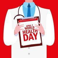 carte de la journée mondiale de la santé avec médecin vecteur
