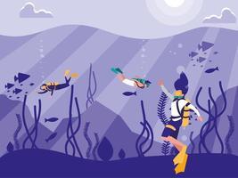 plongeurs dans la scène de paysage marin tropical
