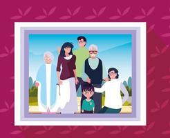 cadre photo avec photo des membres de la famille vecteur