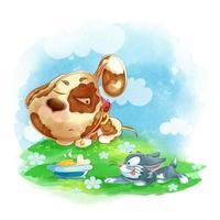 Un chiot mignon dort et un chaton coquin se glisse dans son bol vecteur
