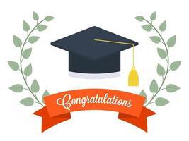 Chapeau de graduation avec branche d'olivier