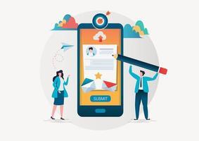 Personnes remplissant un formulaire via une application mobile vecteur