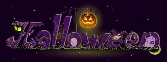 Lettrage de dessin animé Halloween vecteur