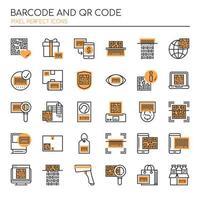 Ensemble de codes barres Duotone Thin Lin et d'icônes de code Qr vecteur