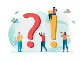 Concept de questions fréquemment posées. Question et réponse métaphore.