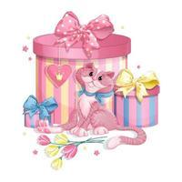 Chat rose avec des coffrets cadeaux vecteur