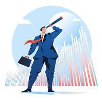 Télescope à la recherche d'un homme d'affaires avec un fond de stock graphique vecteur